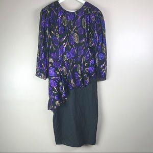 Vintage 80's Metallic Peplum Party Waterfall Dress